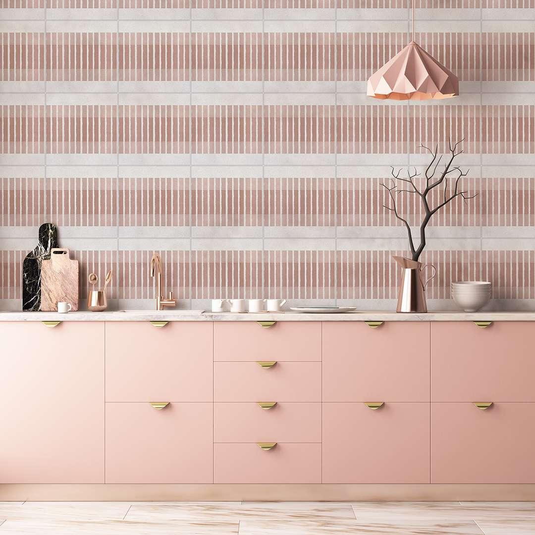 Pink coral kitchen with pink tile backsplash.