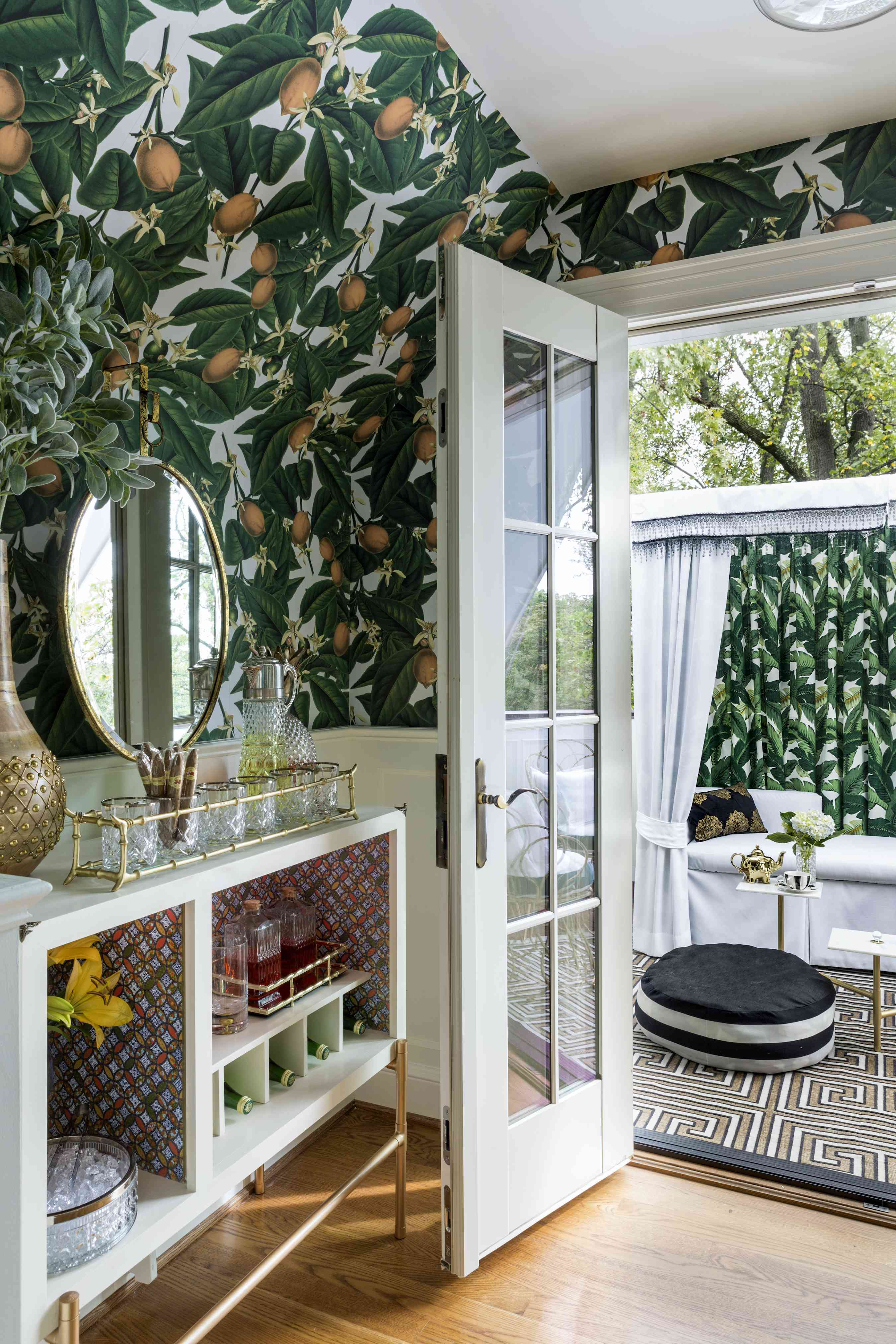 Dining space with funky wallpaper.