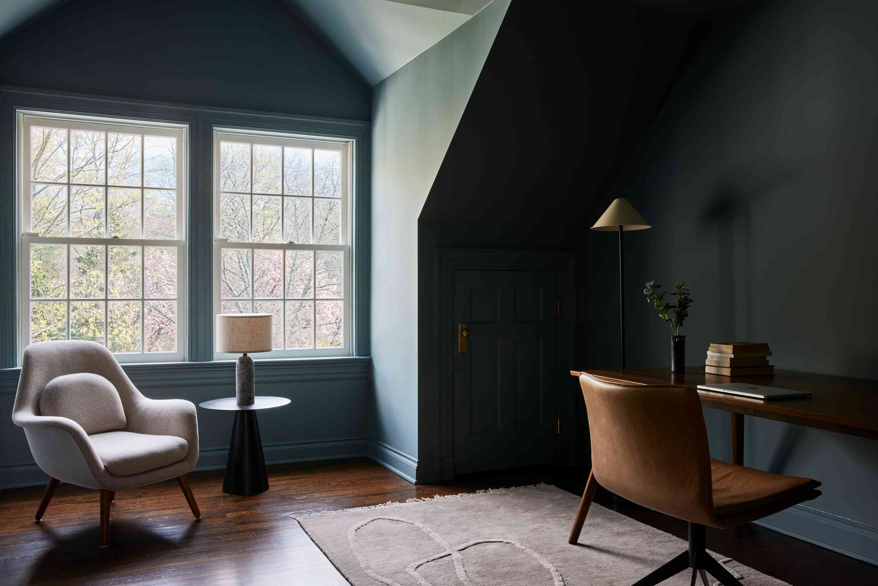 connecticut farmhouse home tour - his office with blue walls and leather desk chair