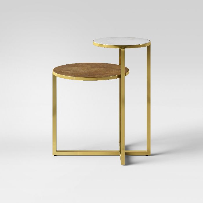 Project 62 Mixed Material Marble and Metal Accent Table