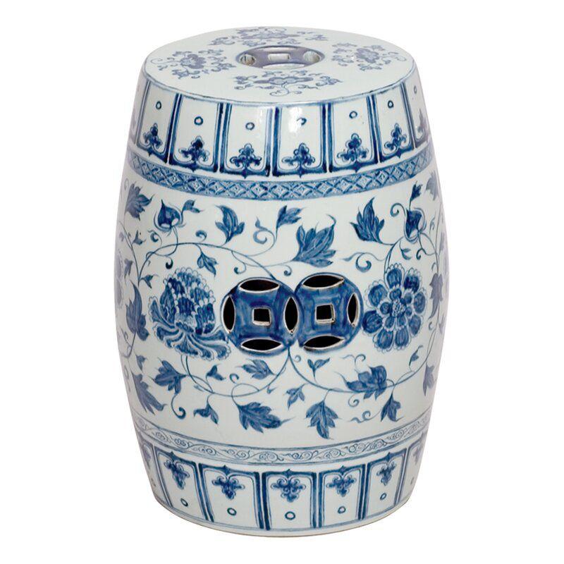 blue chinoiserie garden stool