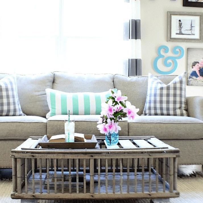 Chicken coop repurposed as coffee table in living room