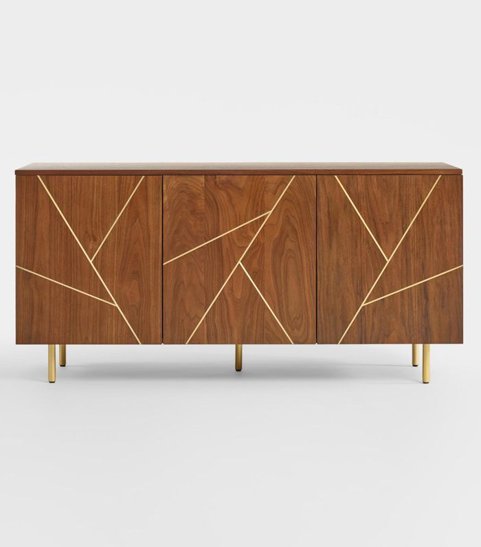 Wood and Metal Inlay Dustin Cabinet: Brown by World Market