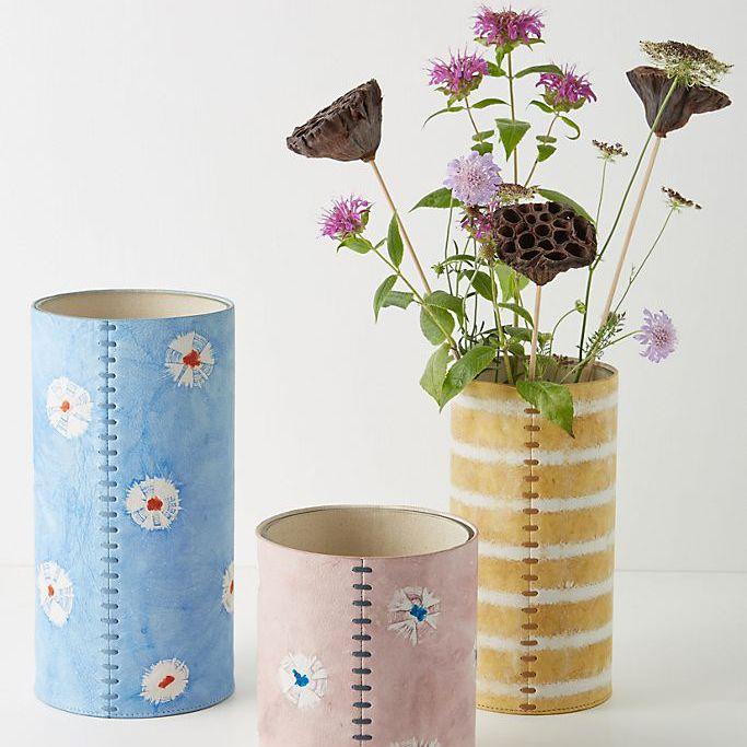Anthropologie Shibori-Dyed Leather Vase