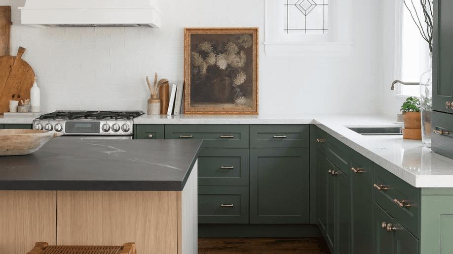 21 Best Green Kitchen Cabinet Ideas, Green Painted Kitchen Cabinets