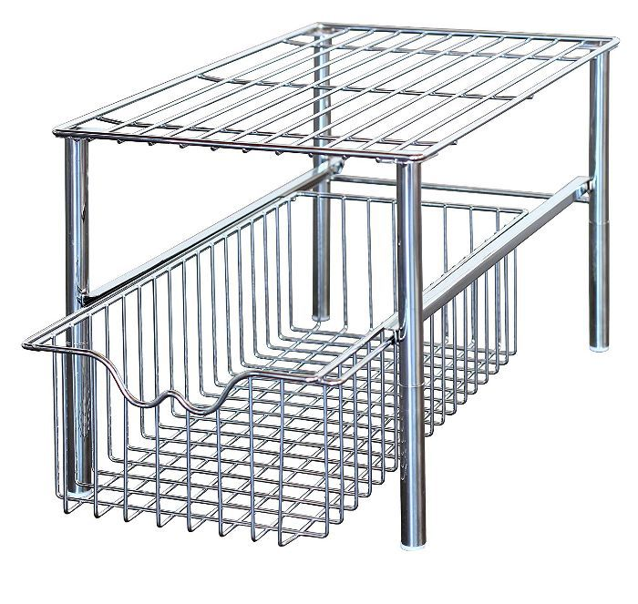 DecoBros Stackable Under Sink Cabinet Sliding Basket Organizer Drawer, Chrome