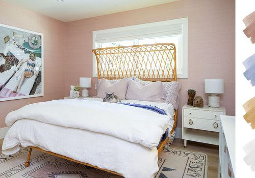 bedroom color schemes - pink + blue + white + gold