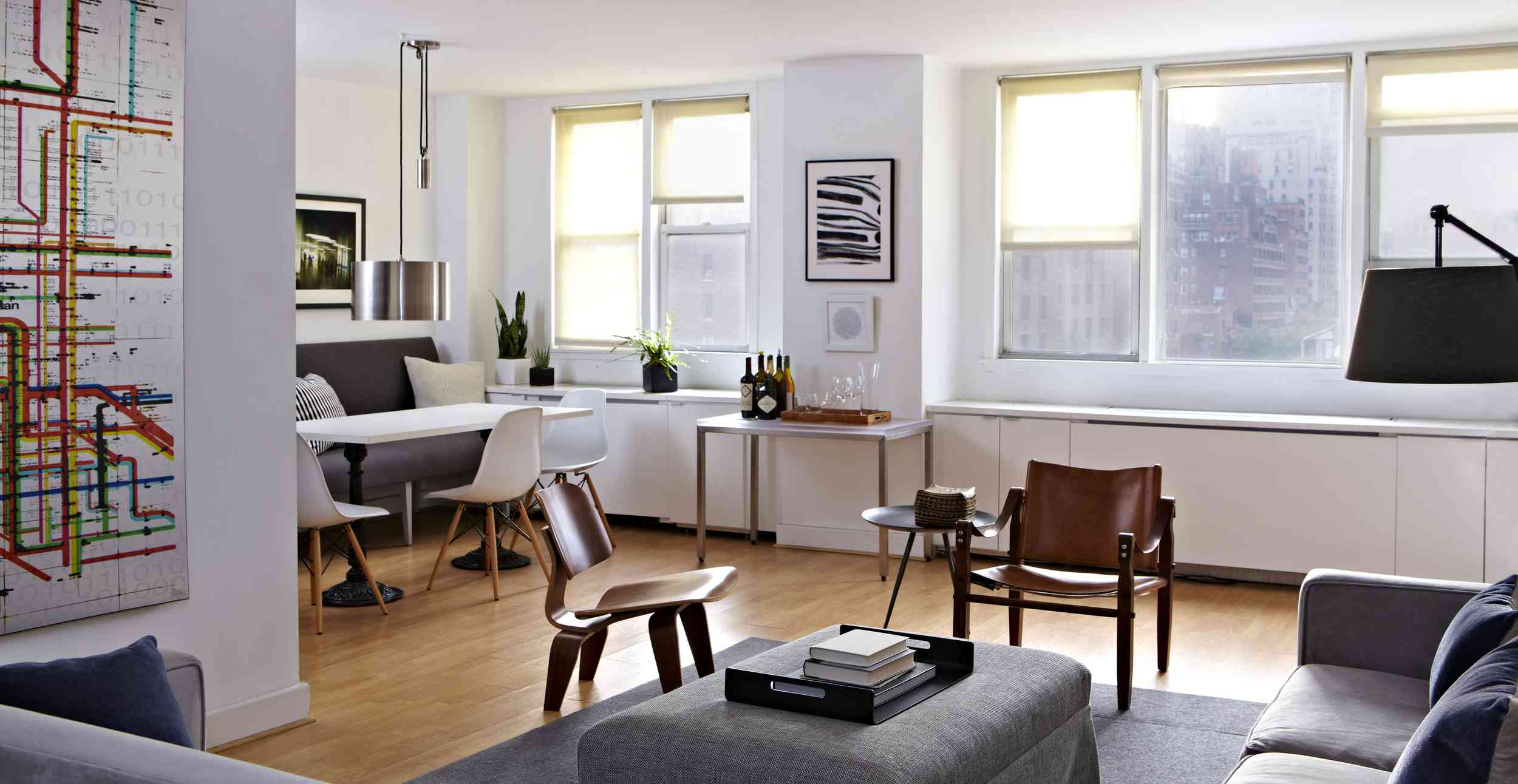 Open layout apartment with modern furniture.
