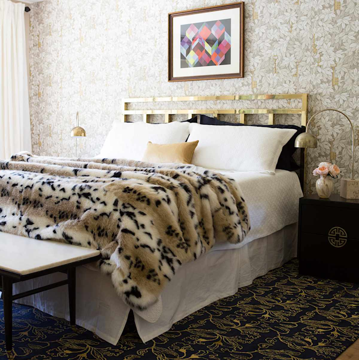 eclectic bedroom with various patterns and styles