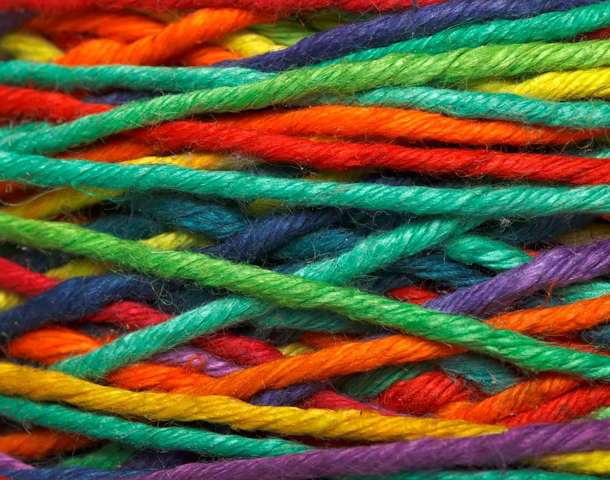 Multi-colored yarn ball