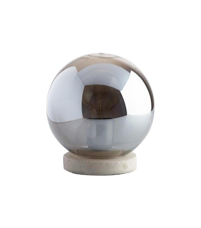 World Market Smoke Gray Glass and Concrete Accent Lamp