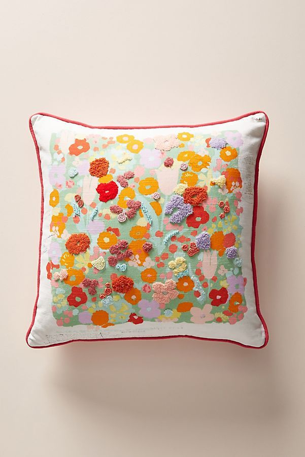 Paule Marrot Embroidered Posies Pillow