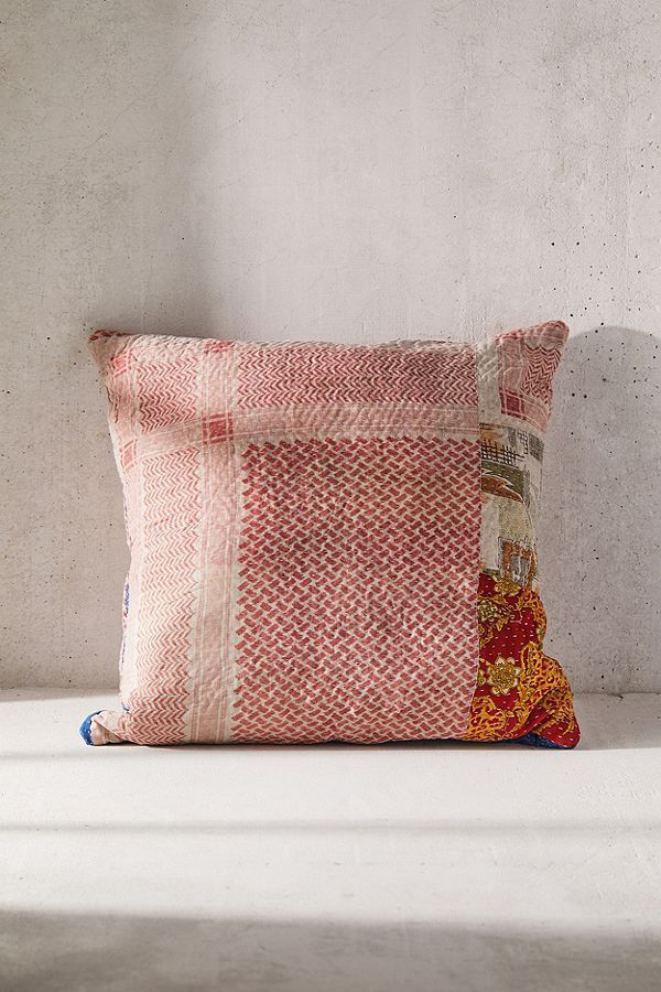 One-Of-A-Kind Kantha Throw Pillow