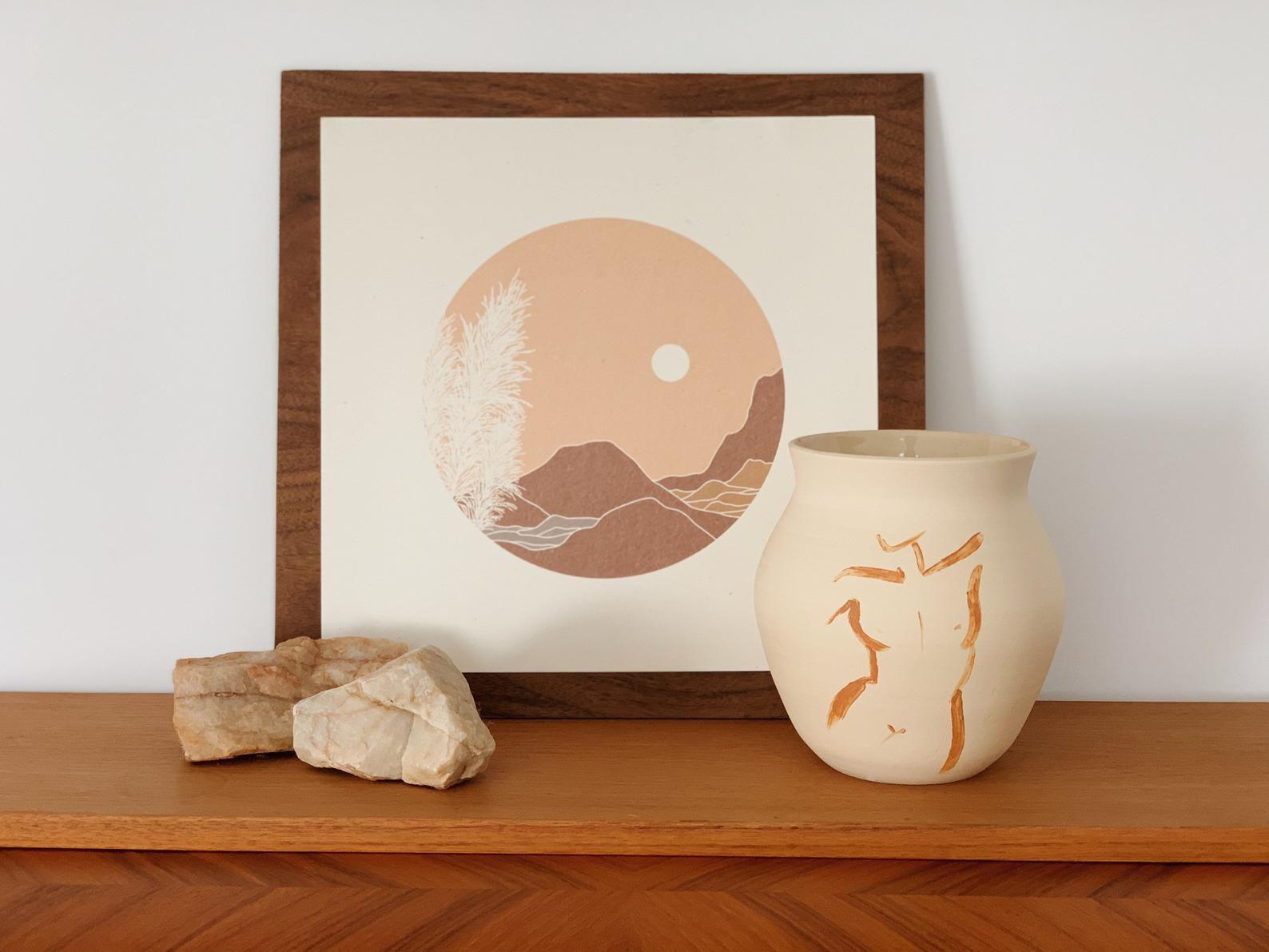 Cyan Ceramics Woman Figure Ceramic Vase