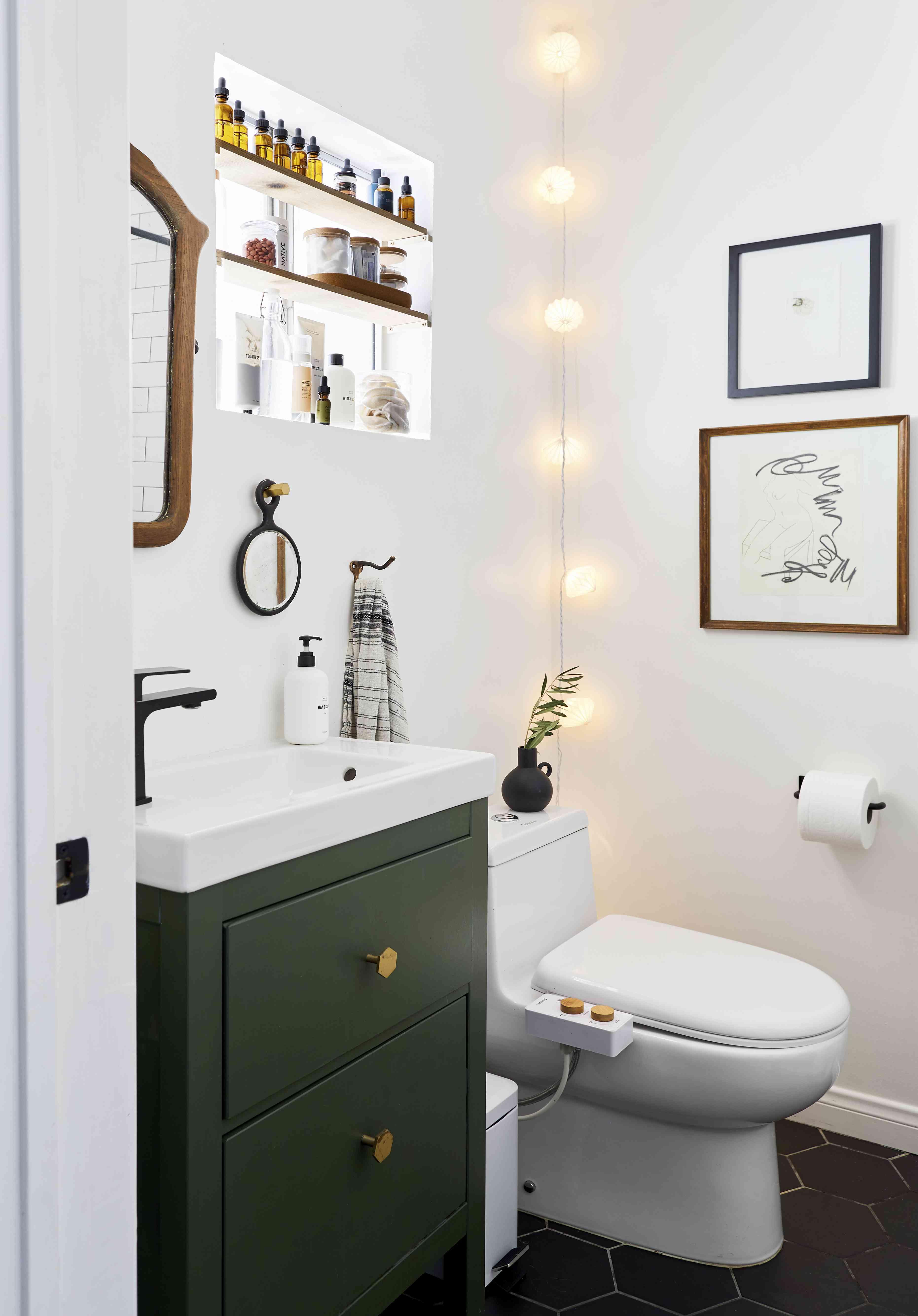 Bathroom with green vanity