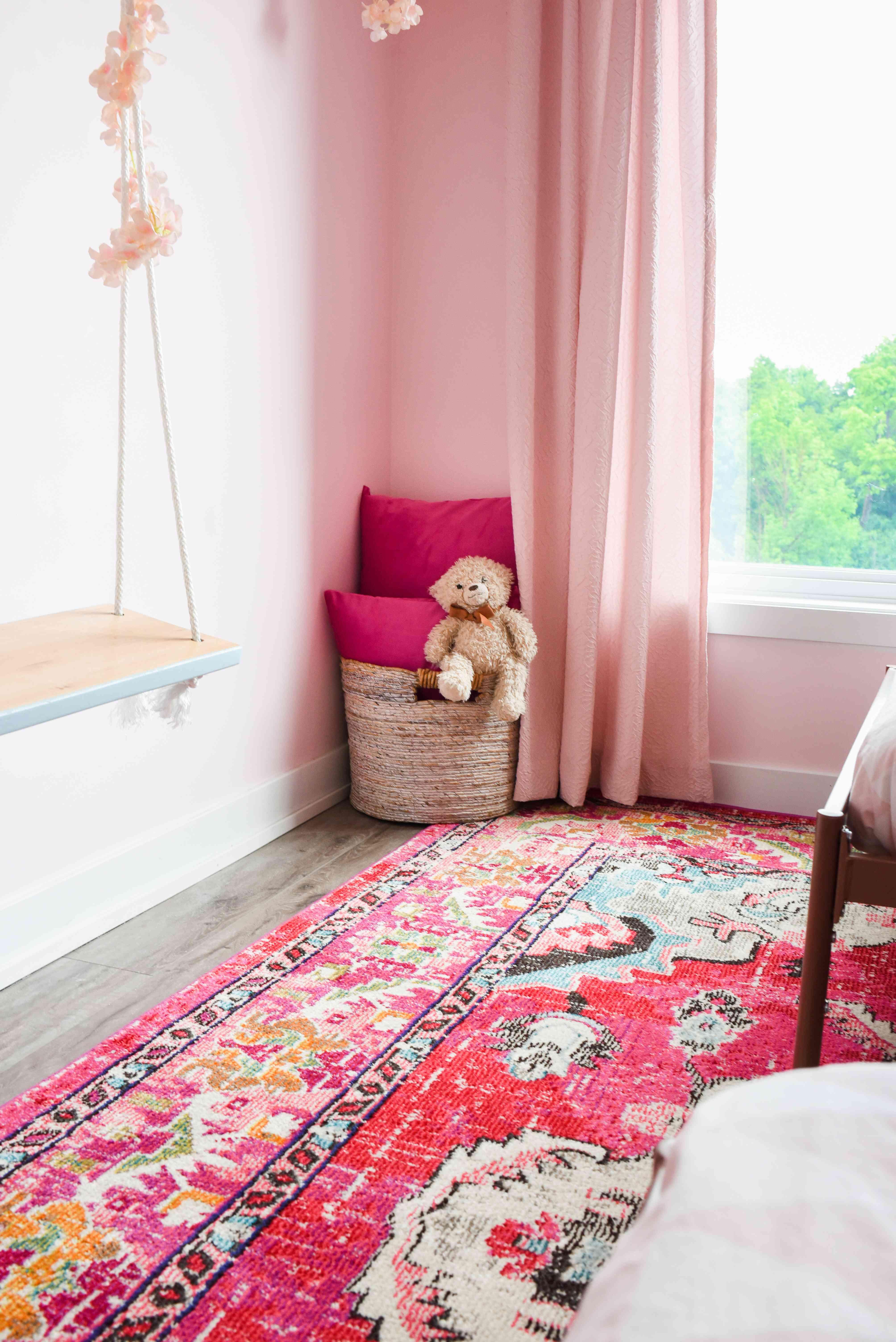 Indoor swing in bedroom.