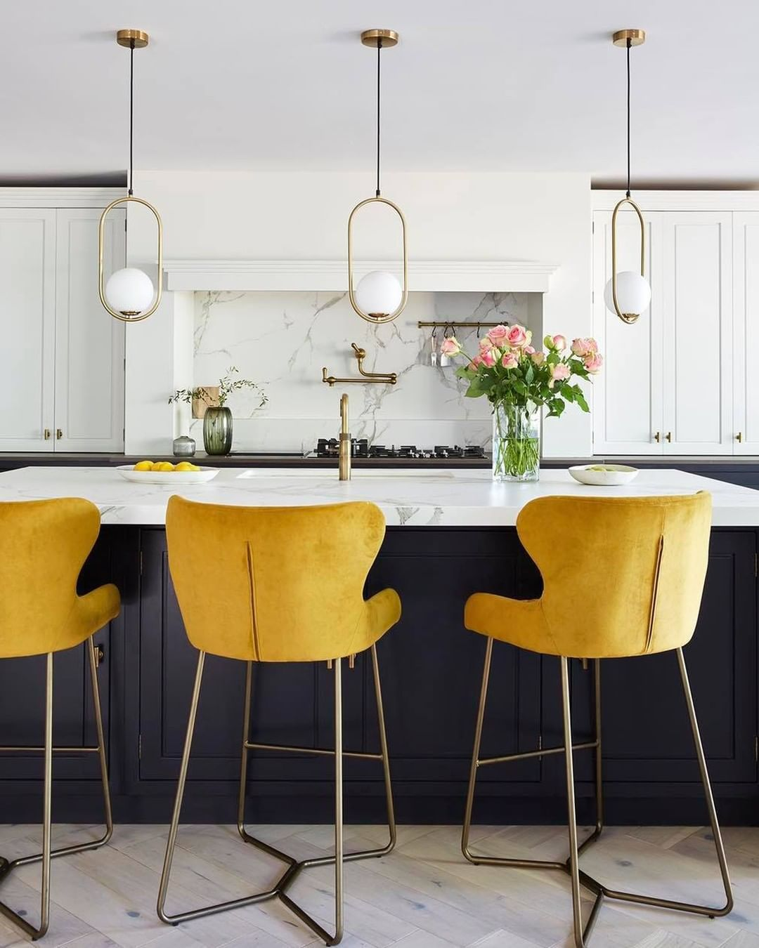 Kitchen with yellow chairs