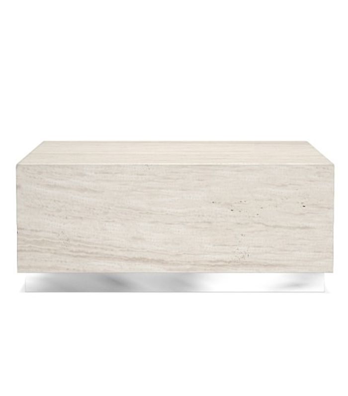 Williams Sonoma Travertine Coffee Table With Stainless Steel Base Grey