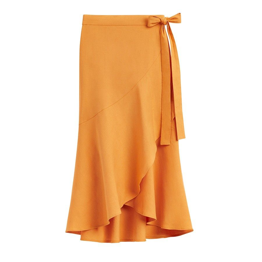 Cuyana Linen Ruffle Wrap Skirt