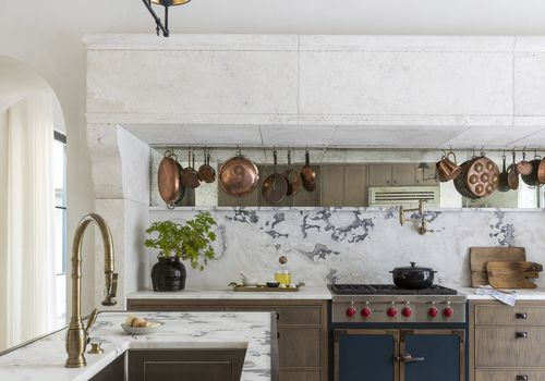 White marble kitchen.