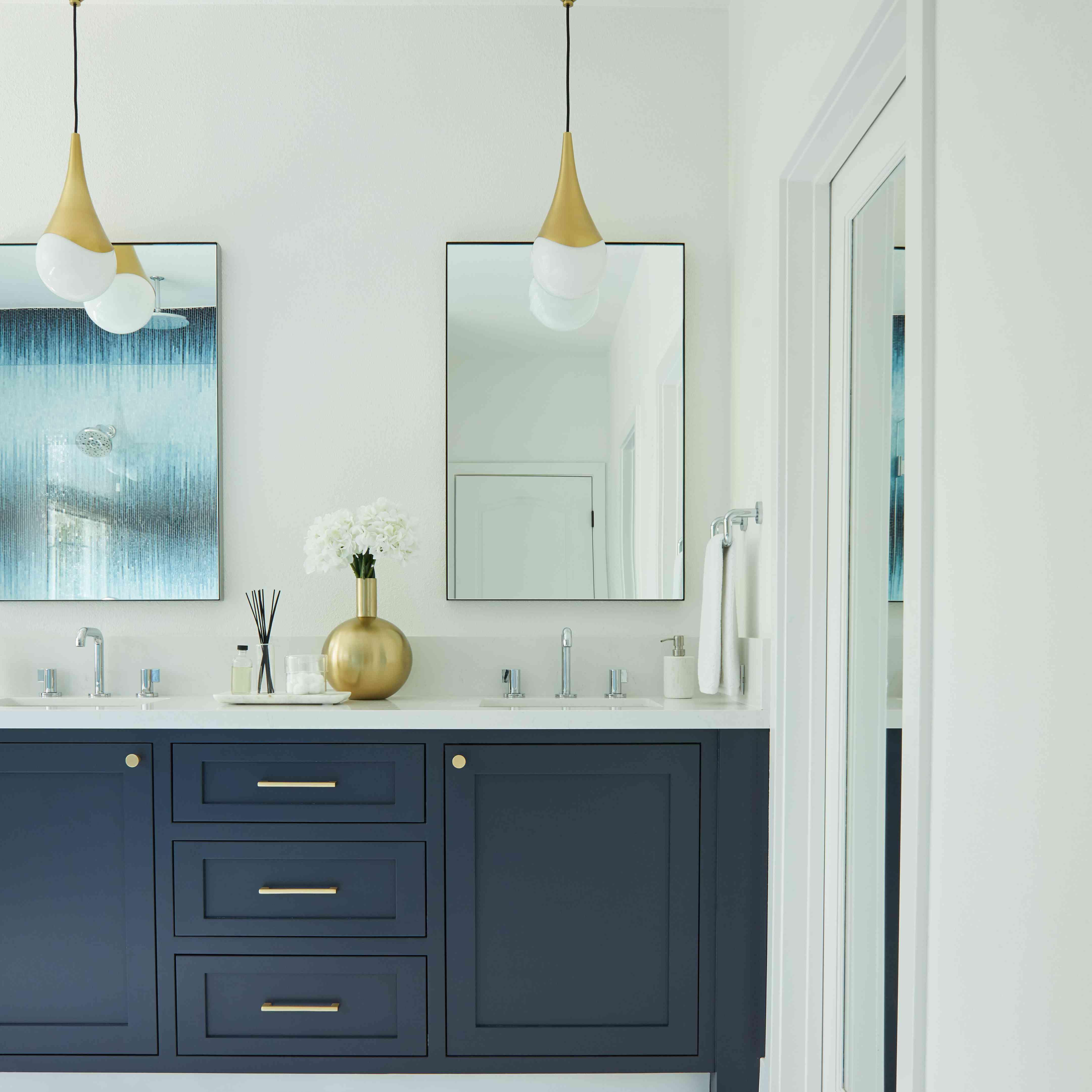 Navy blue vanity.