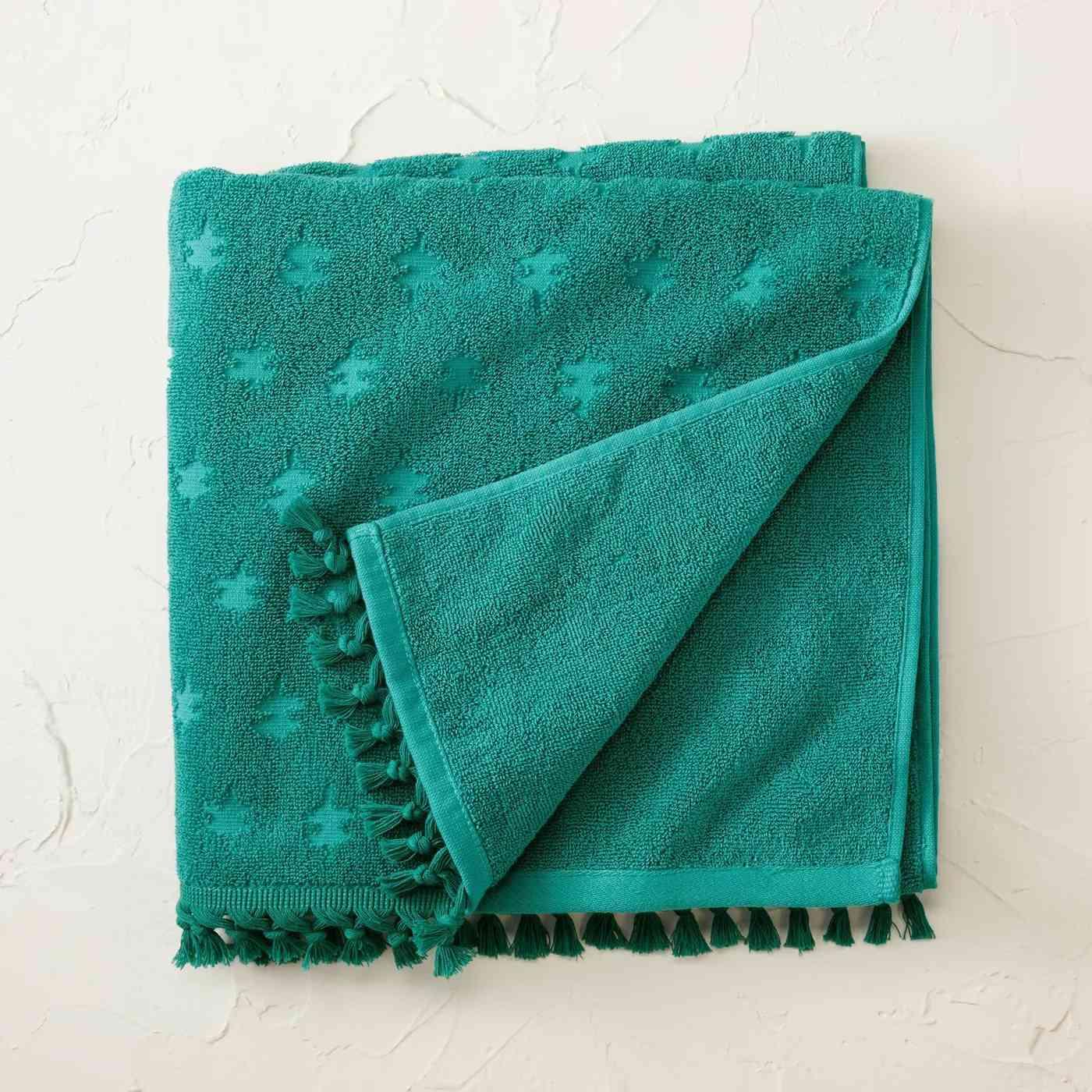 Jacquard Bath Towel with Fringe