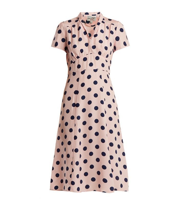 HVN Morgan Large Polka-Dot Print Silk Dress