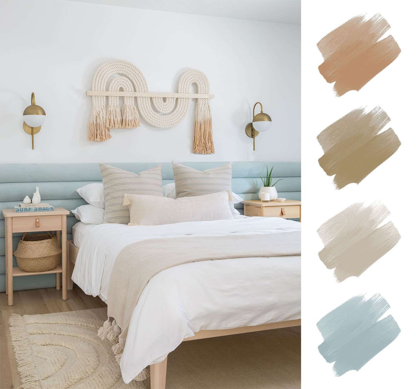 bedroom color palettes - aqua, sand and orange
