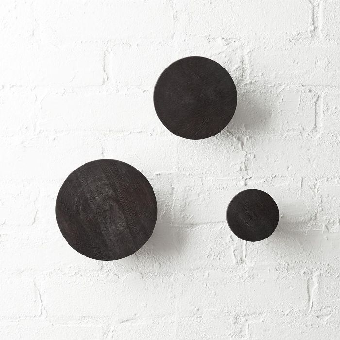 Dot Charred Black Coat Hooks Set of 3