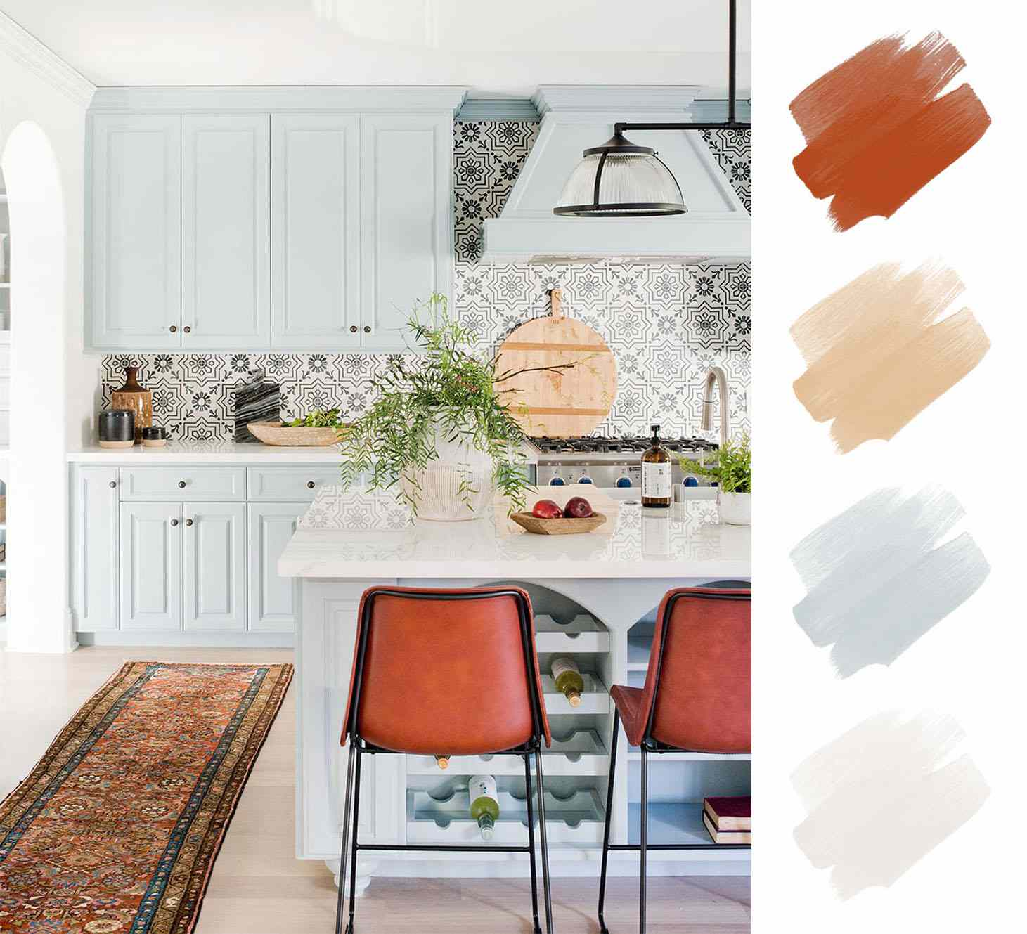 kitchen color schemes - saddle brown and sky blue