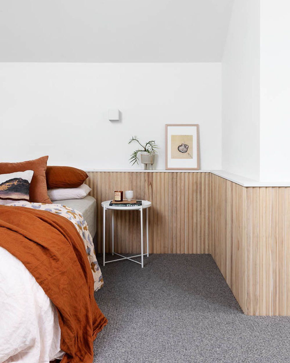 Wainscot wall in bedroom