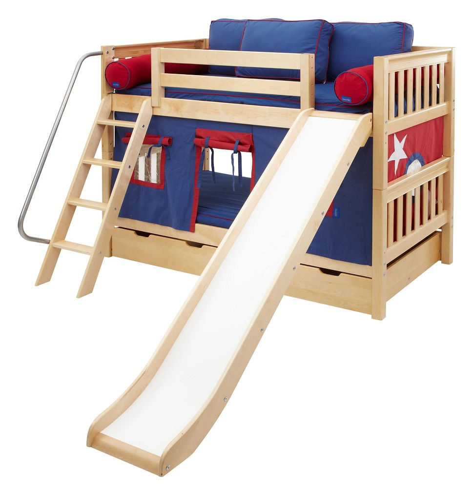 Maxtrix Kids Twin Low Bunk Bed with Angled Ladder and Slide