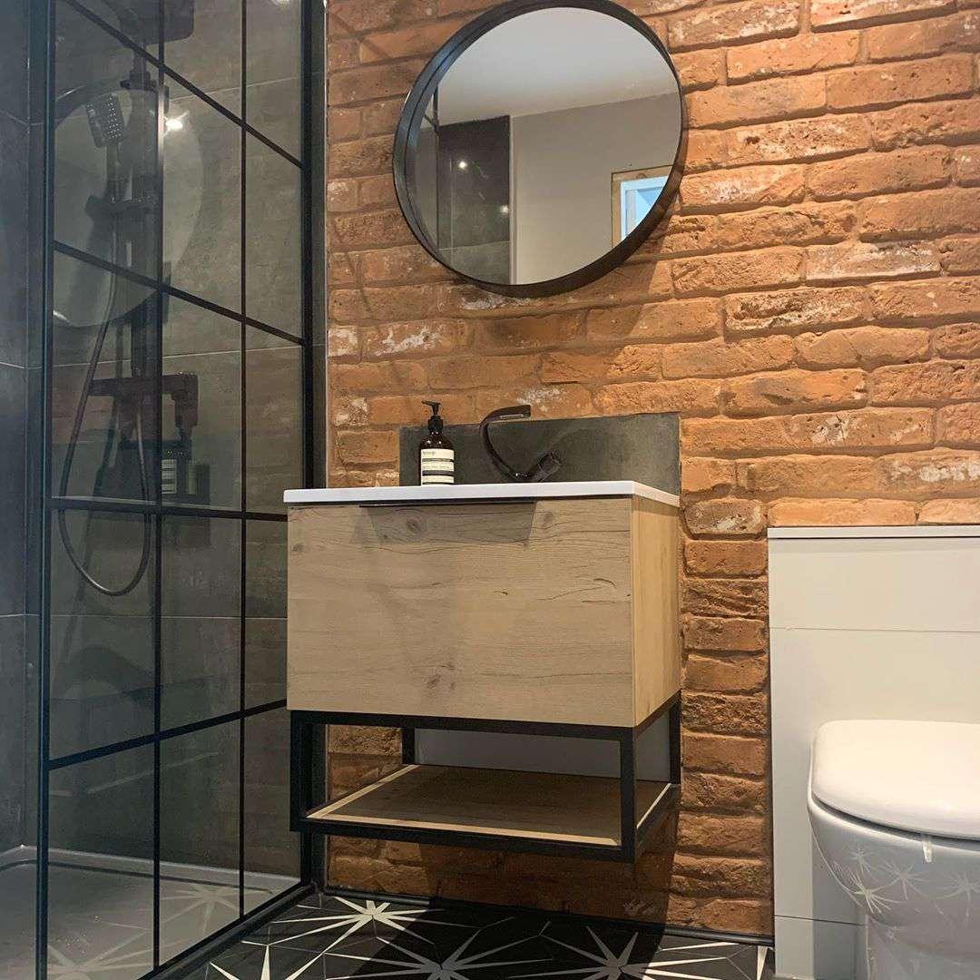 Bathroom with brick walls