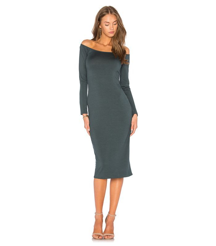 Long Sleeve Jagger Dress in Dark Green. - size S (also in XS)