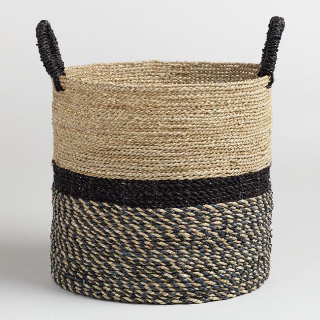 Canasta de mano grande y negra Calista Seagrass grande del mercado mundial