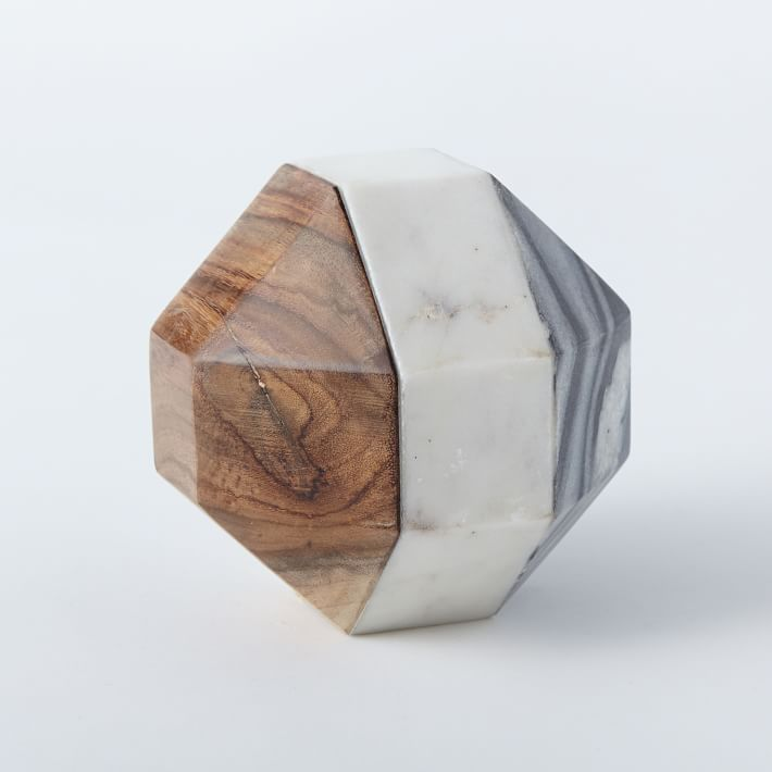 West Elm Marble & Wood Geometric Object