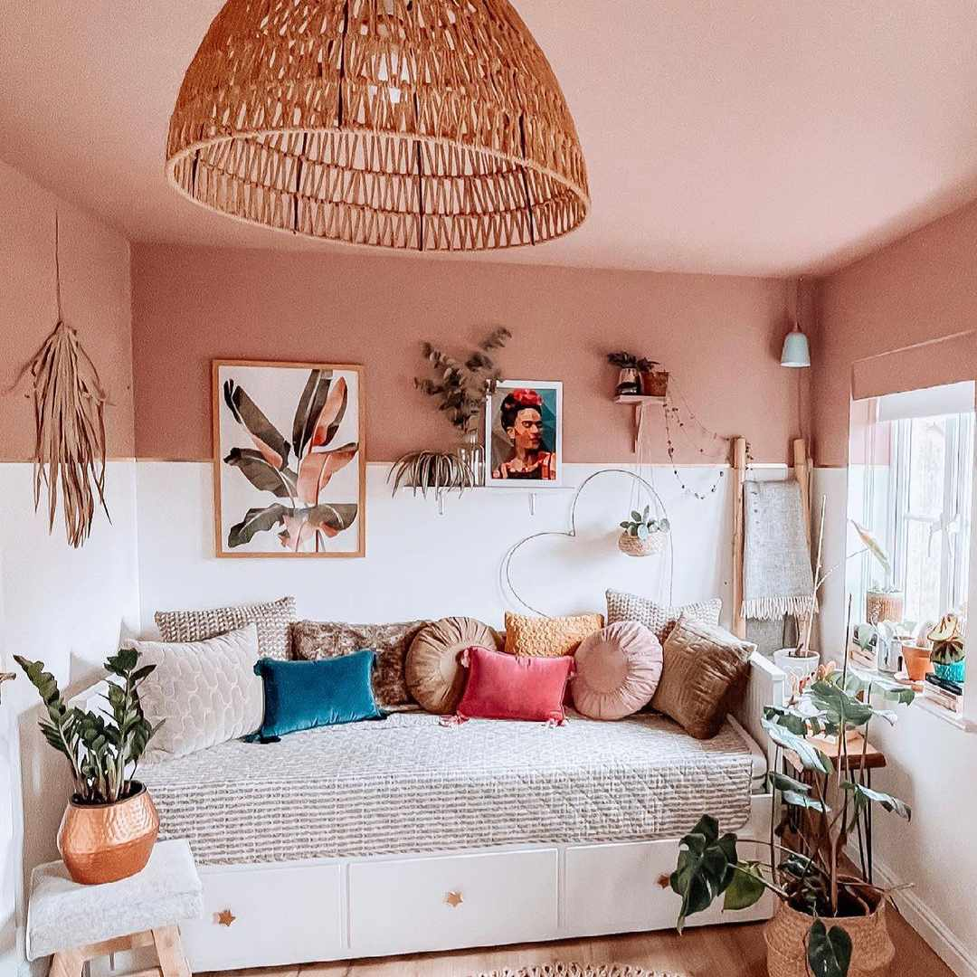 boho room with painted ceiling