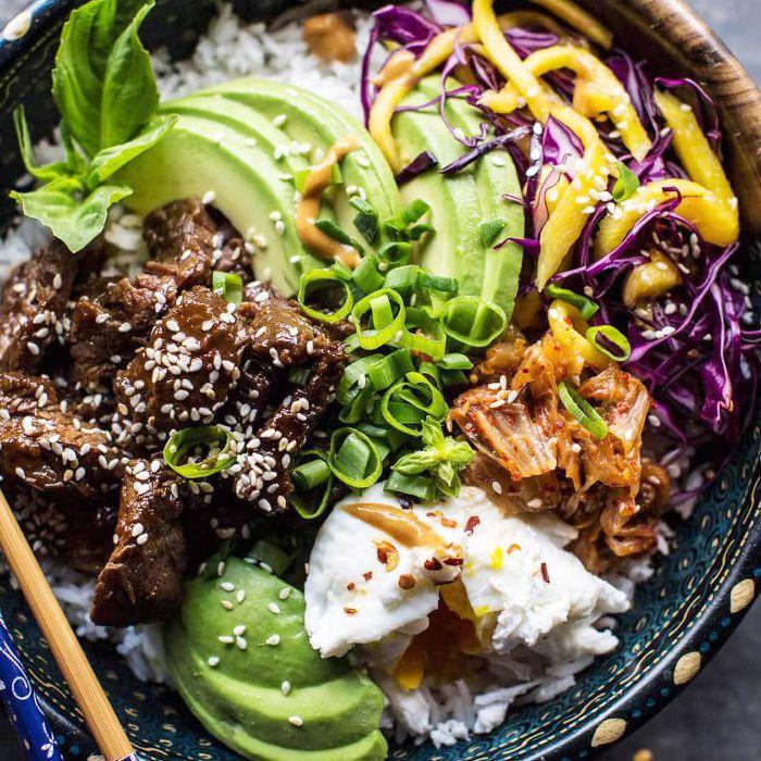 Tazones de carne coreanos Bulgogi BBQ