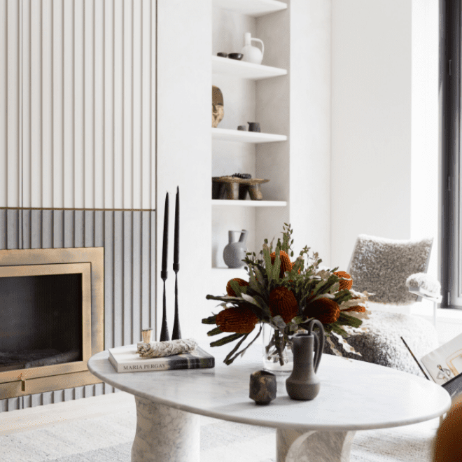 Fireplace with vertical design