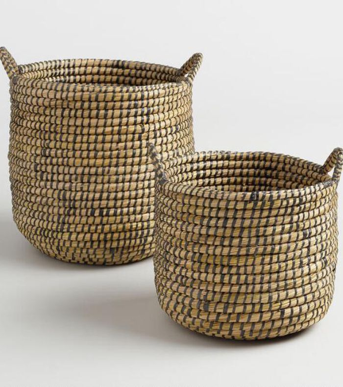 Espresso and Natural Seagrass Paige Tote Baskets - Large by World Market Large