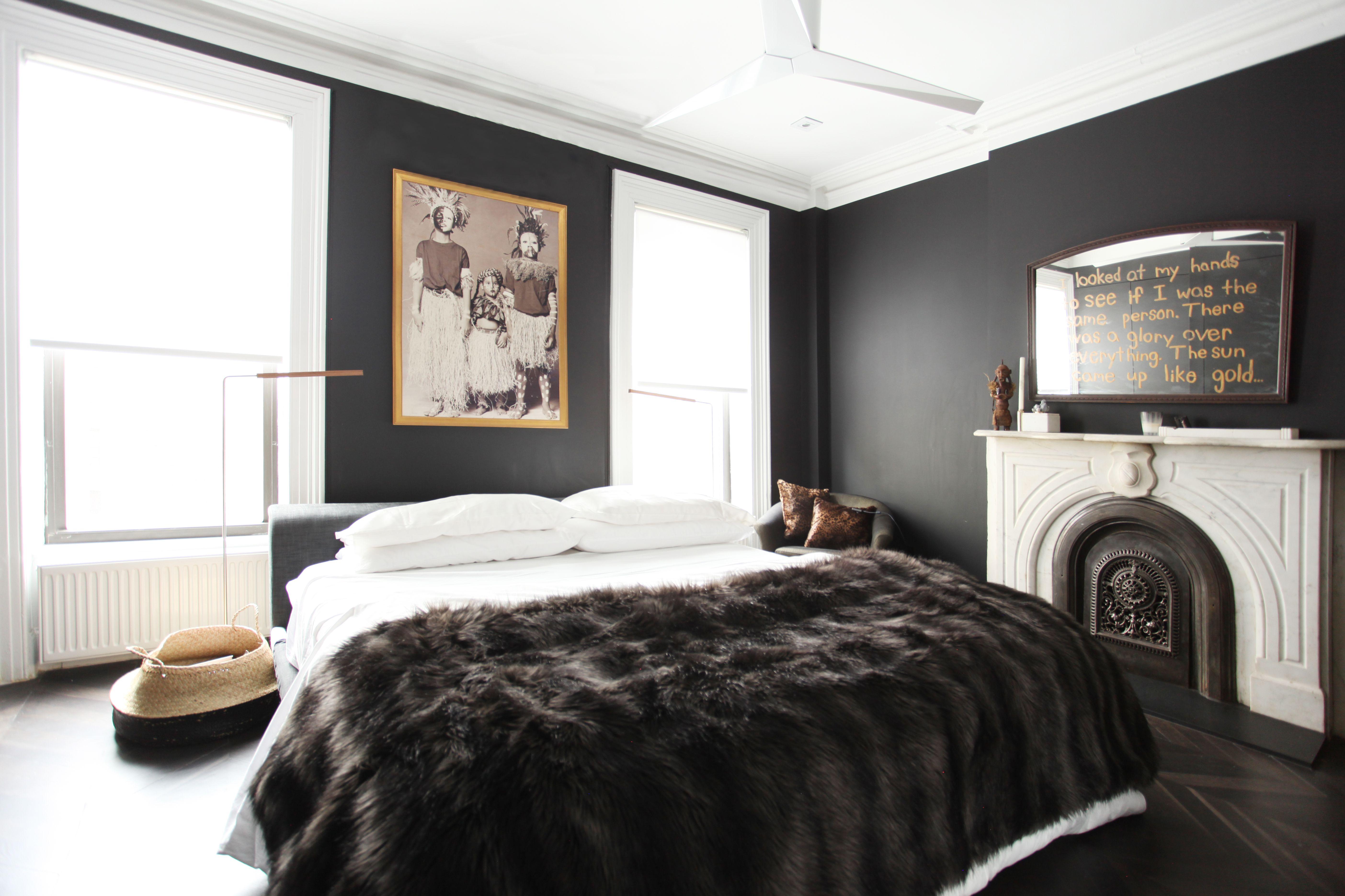 master bedroom black walls artwork