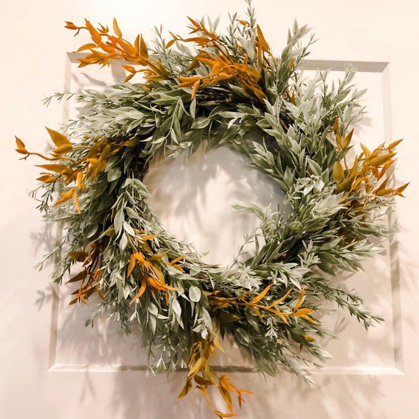 green and orange fall wreath