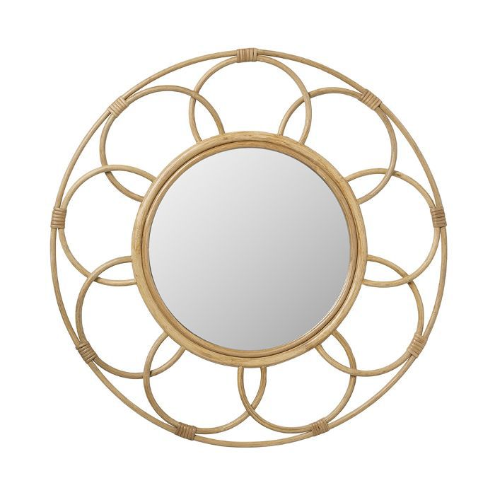 Target Round Rattan Mirror With Scalloped Border