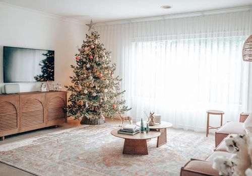 Christmas tree in living room.