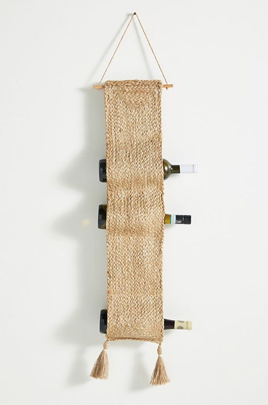 Woven hanging wine rack