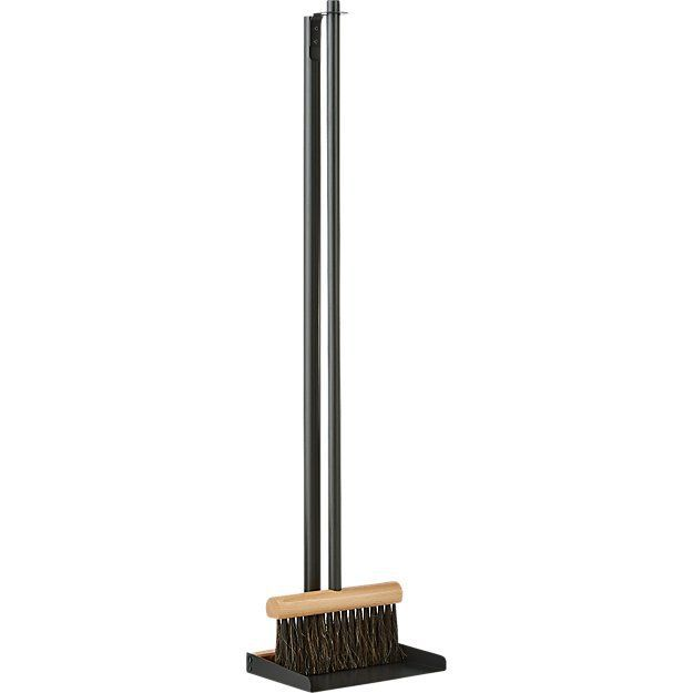 CB2 Mr. and Mrs. Clynk Black Broom and Dustpan Set