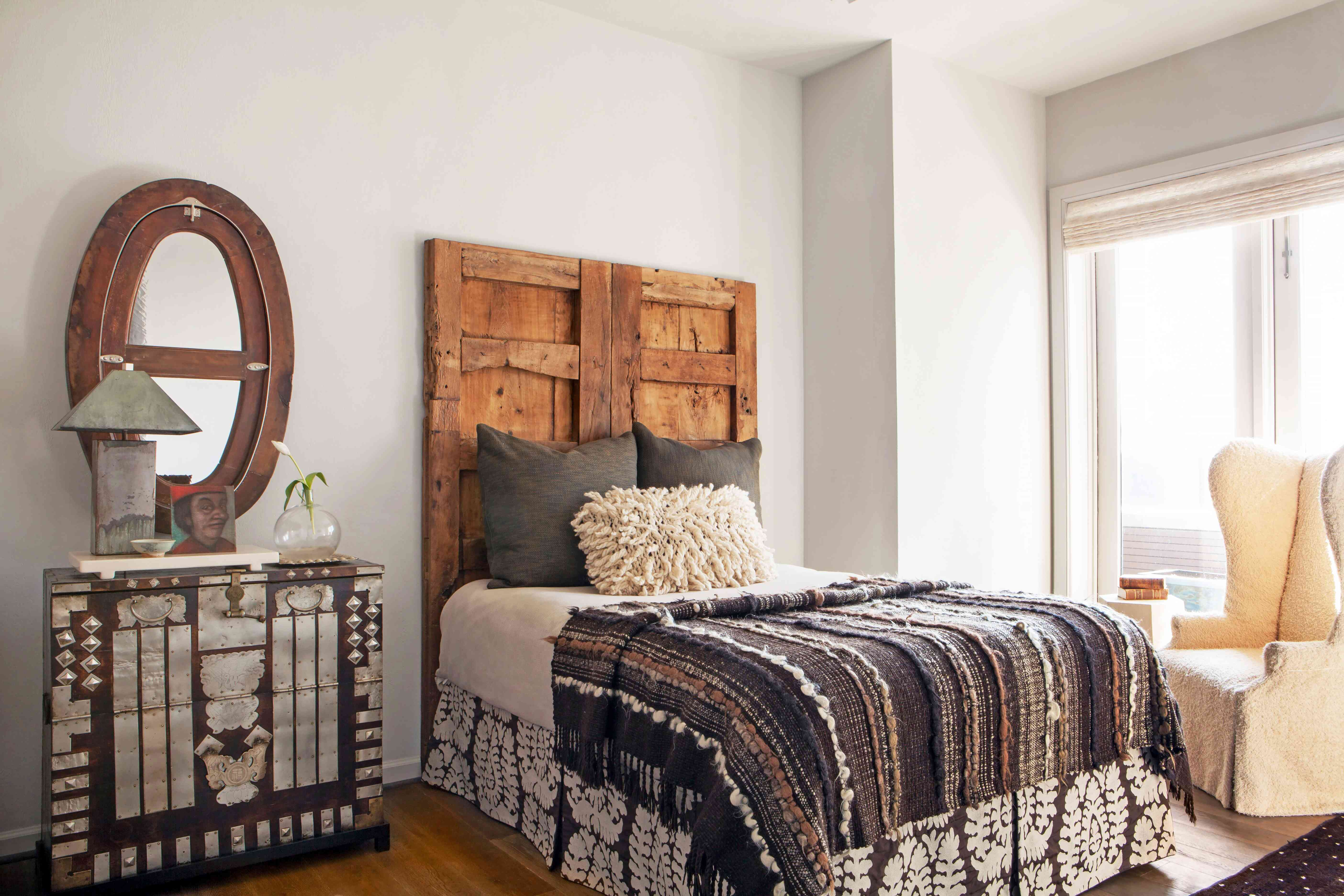 An eclectic bedroom that showcases an ideal juxtaposition of textures.