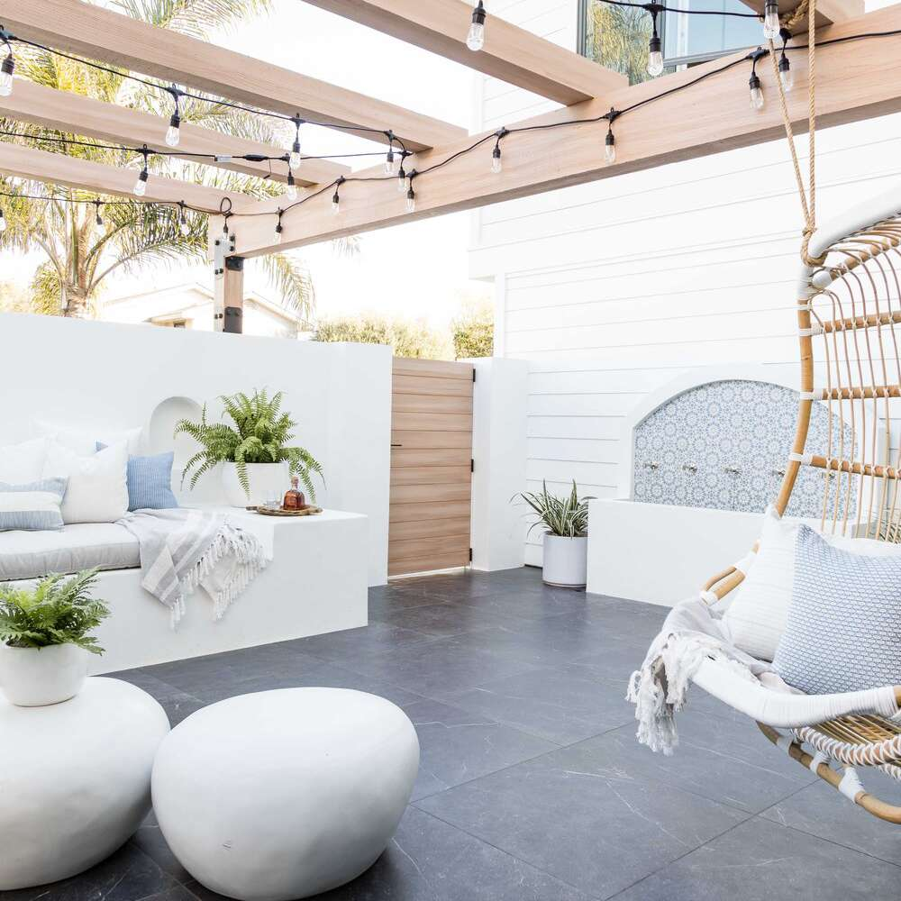 Patio with string lights.