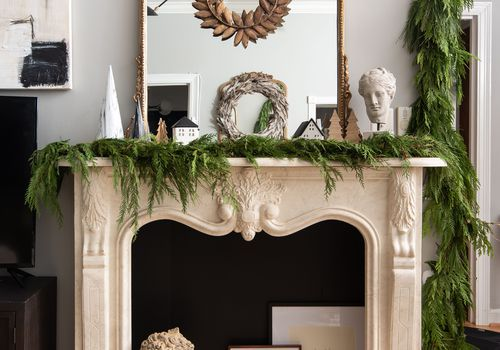 Decorated Christmas mantle.