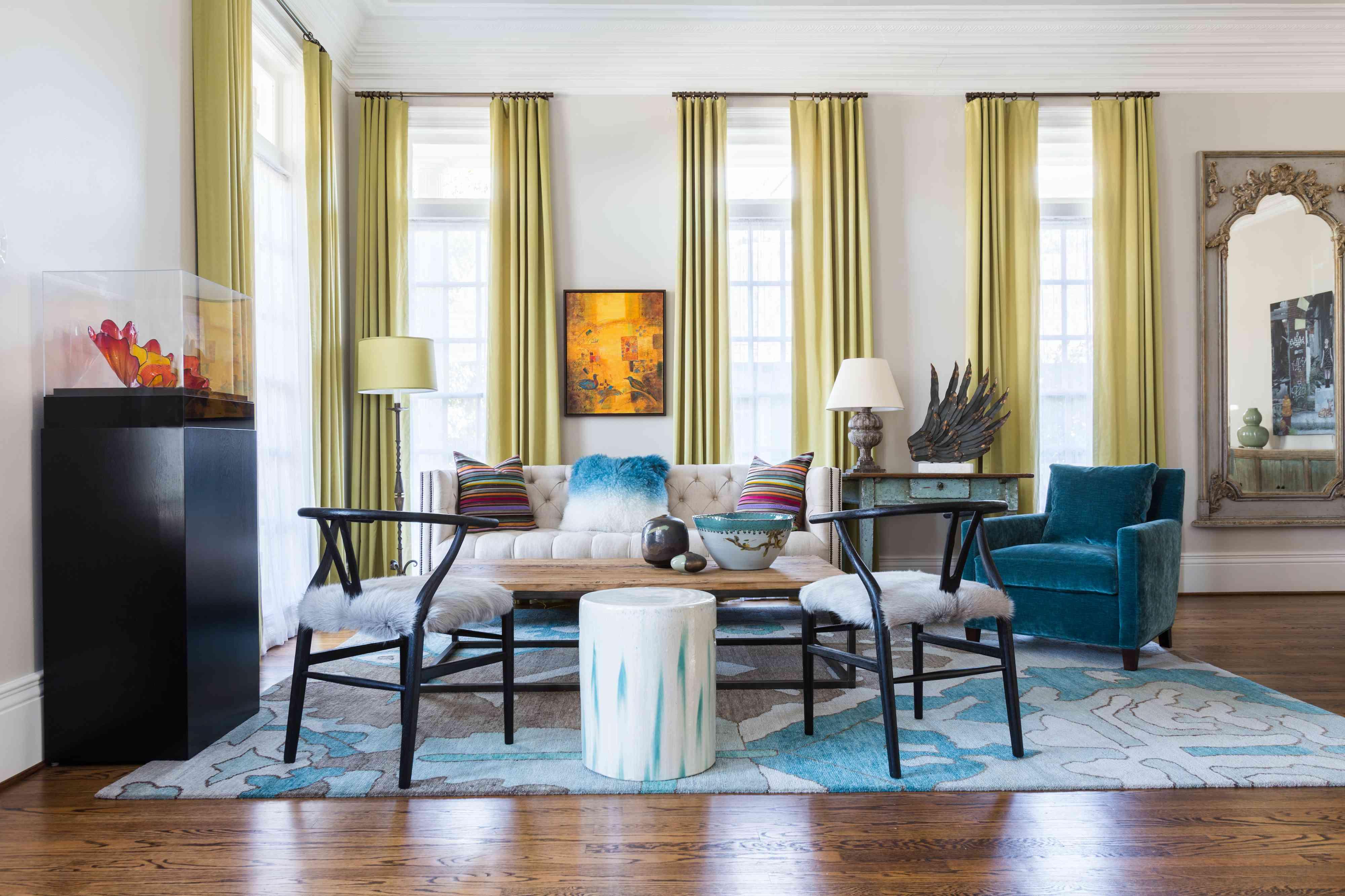 window treatments chartreuse